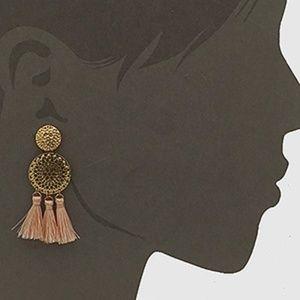 Artisan Jewelry - Pink Thread Tassel Double Round Earrings